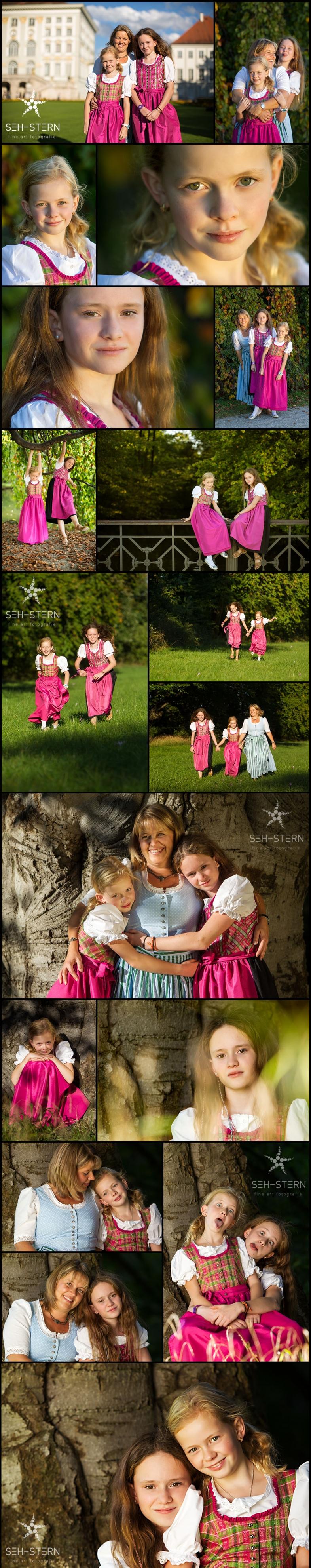 Familienportraits und Familienfotos im Oktober im Nymphenburger Schlosspark in München